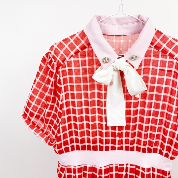 Sister Jane Grid Check Pussybow Midaxi Dress